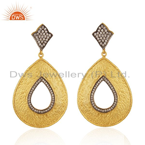 22K Yellow Gold Plated Cubic Zirconia Designer Fashion Drop Dangle Earrings