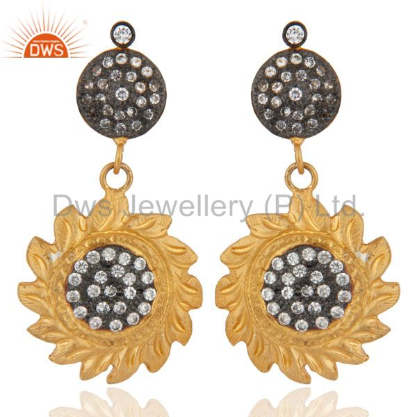 Gold Plated Sun Design Back Screw Dangle Earrings White Zircon Jewelry