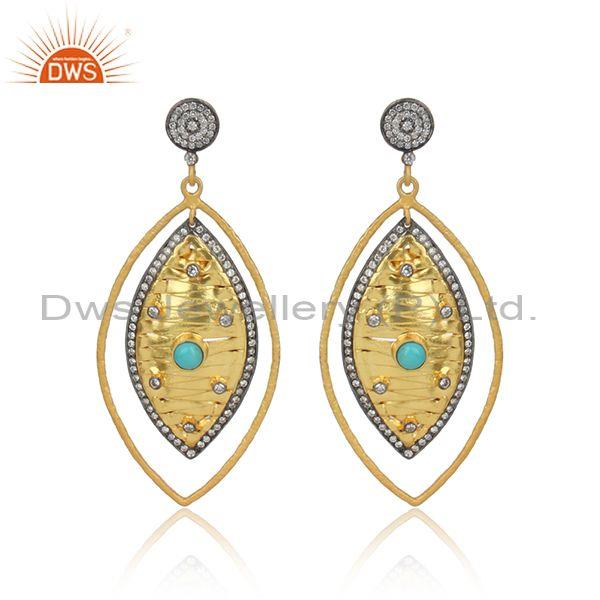 CZ And Arizona Turquoise Gold Plated Silver Dangle Earring