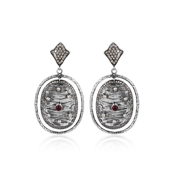 Cz, hydro pink set oxidized silver oval traditional earrings