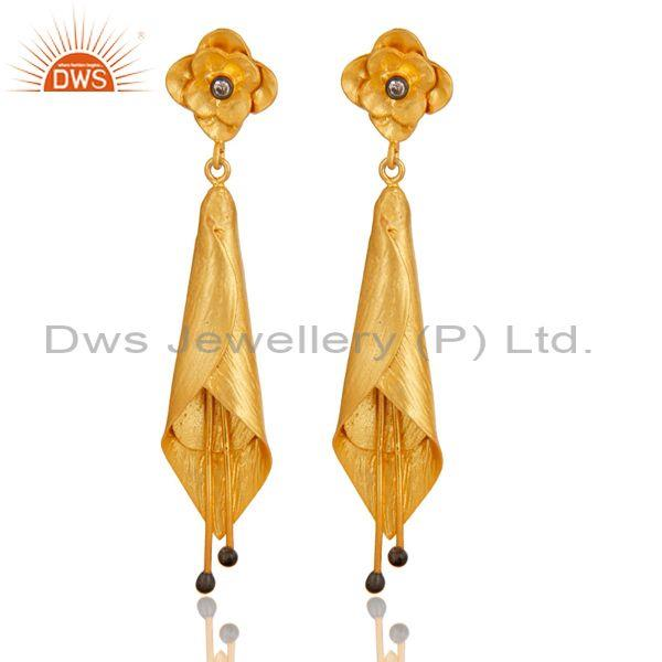 CZ Set Gold On Sterling Silver Floral Cone Shaped Earrings