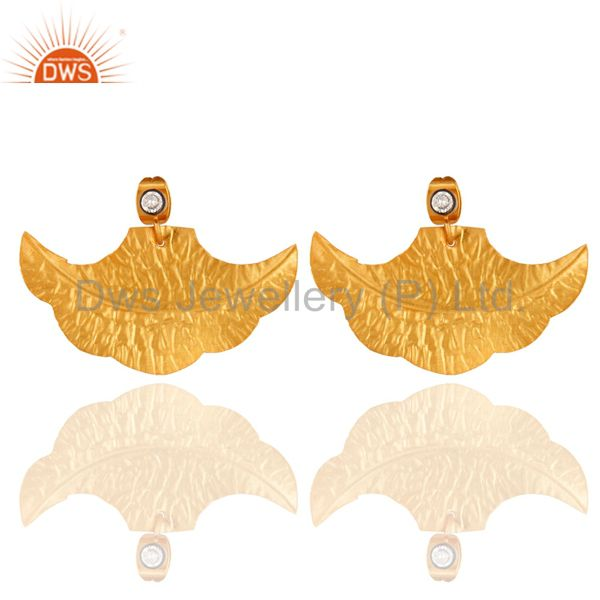 14-Karat Yellow Gold-Plated Cubic Zirconia Dry Leaf Designed Earrings
