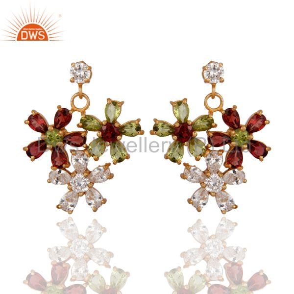 Garnet And Peridot 18K Yellow Gold Plated Designer Earrings With CZ