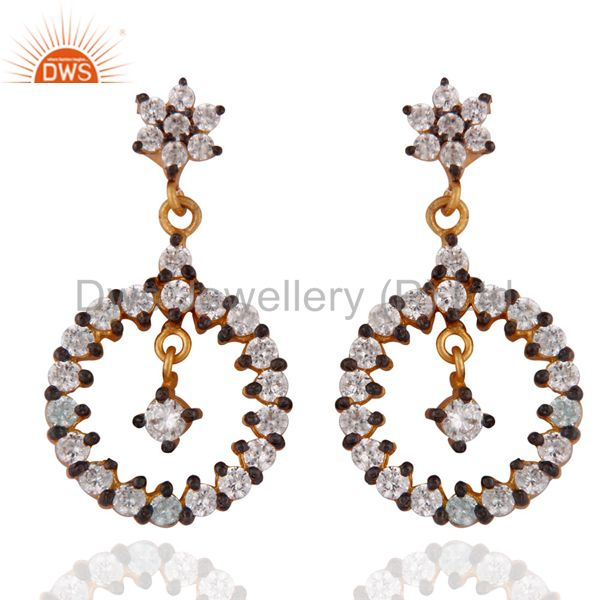 Gold Plated Stunning White Cubic Zirconia Fashion Dangle Earrings