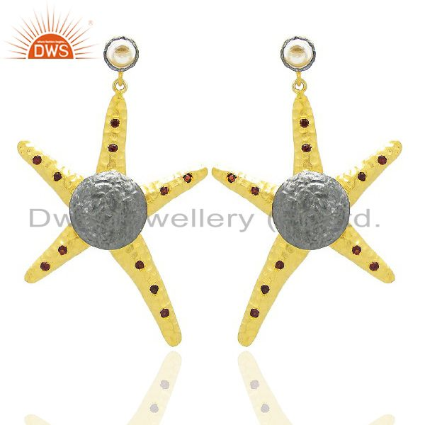 22K Yellow Gold Plated Brass Garnet Star Fish Designer Dangle Earrings