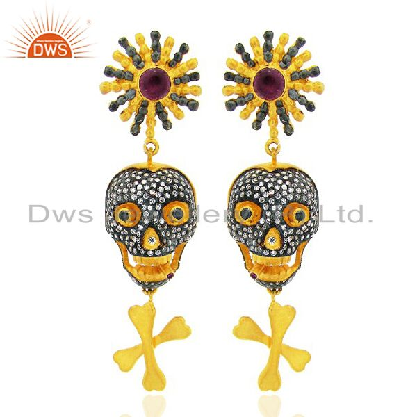 22K Yellow Gold Plated Brass Cubic Zirconia Skull Women Fashion Dangle Earrings
