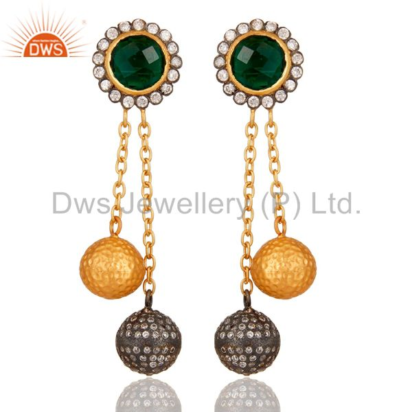 22K Yellow Gold Plated Brass Green Hydro Chain Dangle Earrings With CZ