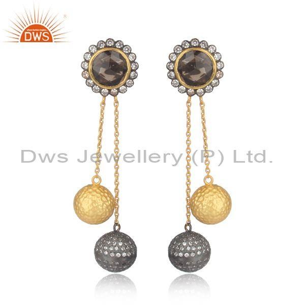 Smoky and cz set gold on sterling silver long drop earrings