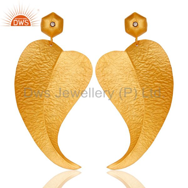18k Gold Plated Fashion Charming Leaf Design Brass Earrings with White Zircon