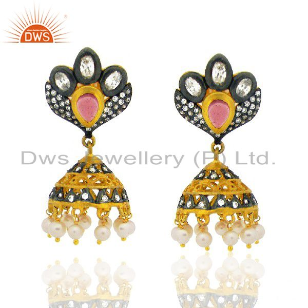 22K Yellow Gold Plated Brass Pink Glass & Cubic Zirconia Jhumka Dangle Earrings