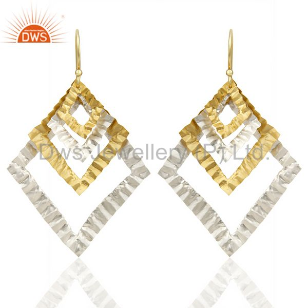Indian Hammerad Silver Plated 18k Gold Plated Filigree Design Earrings Jewelry