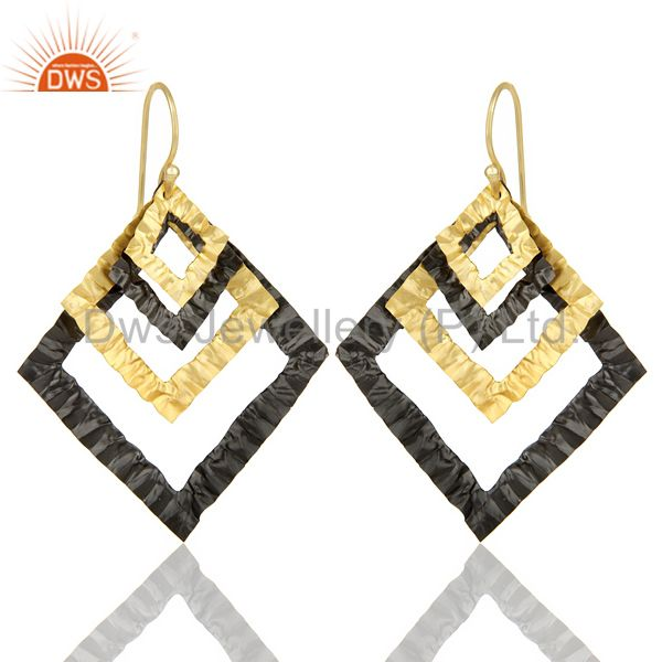 Indian Hand Hammerad Black Rhodium & 18k Gold Ploshied Filigree Design Earring