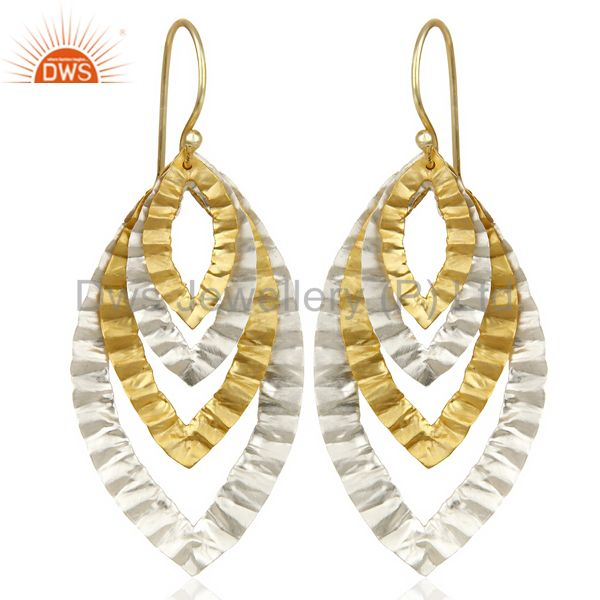 14K Gold Plated Silver Plated Traditional Handmade Textured Dangle Earrings