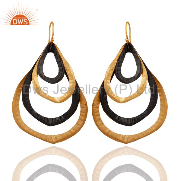 Oxidized And 18K Yellow Gold Plated Brass Designer Womens Fashion Earrings