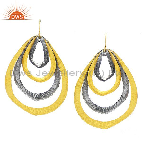 22K Yellow Gold Plated Sterling Silver Hammered Multi Circle Dangle Earrings