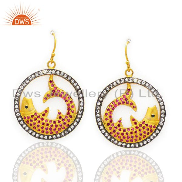 22K Yellow Gold Plated Sterling Silver Cubic Zirconia Fish Design Dangle Earring