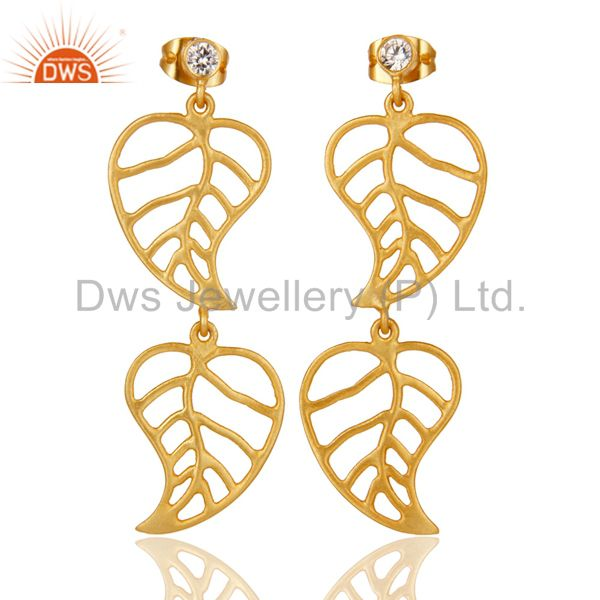 24k Yellow Gold Plated Cubic Zirconia Handmade Leaf Designer Dangle Earrings