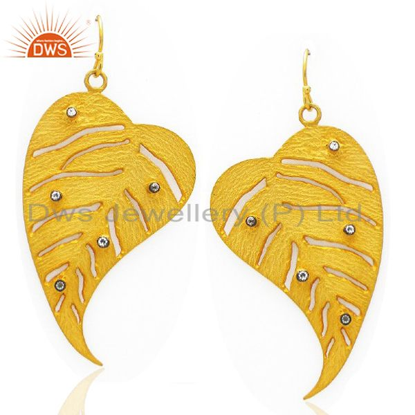 22K Yellow Gold Plated Brass Cubic Zirconia Leaf Design Filigree Dangle Earrings