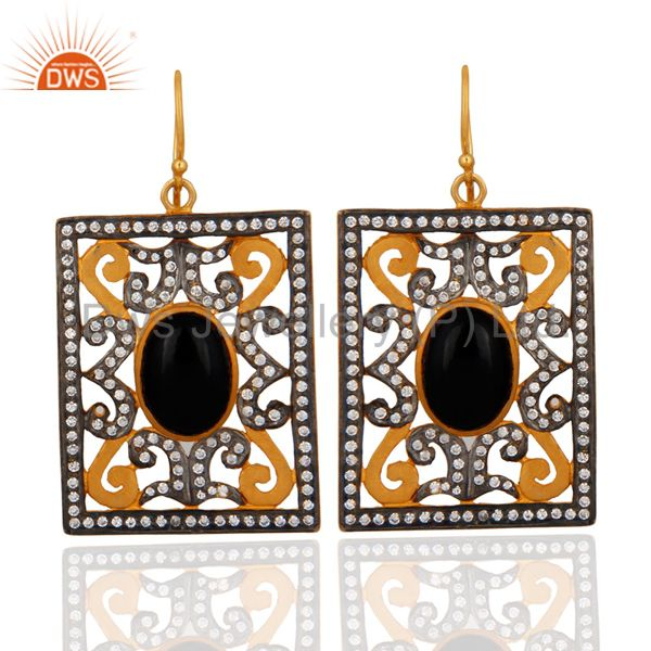 Awesome Designer Black Onyx & White Zircon 18k Gold Plated Dangle Hook Earrings