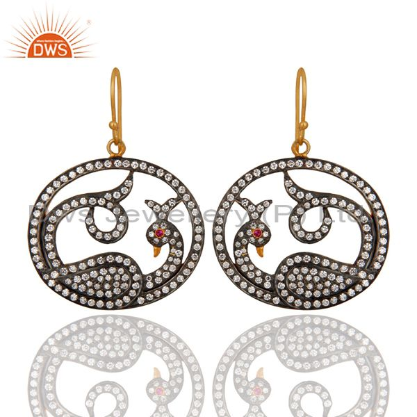 18K Yellow Gold Plated Cubic Zirconia Accent Peacock Designer Fashion Earrings