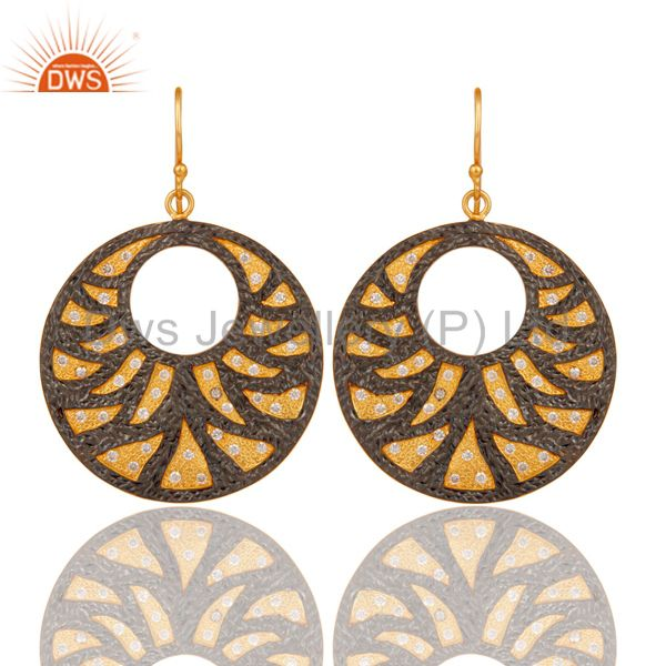 22K Yellow Gold Plated White Zirconia Disc Designer Fashion Dangle Earrings