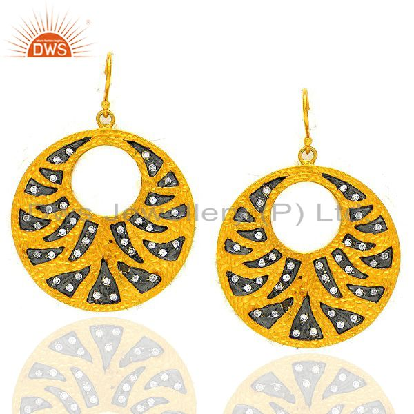 22K Yellow Gold Plated Cubic Zirconia Disc Designer Fashion Dangle Earrings