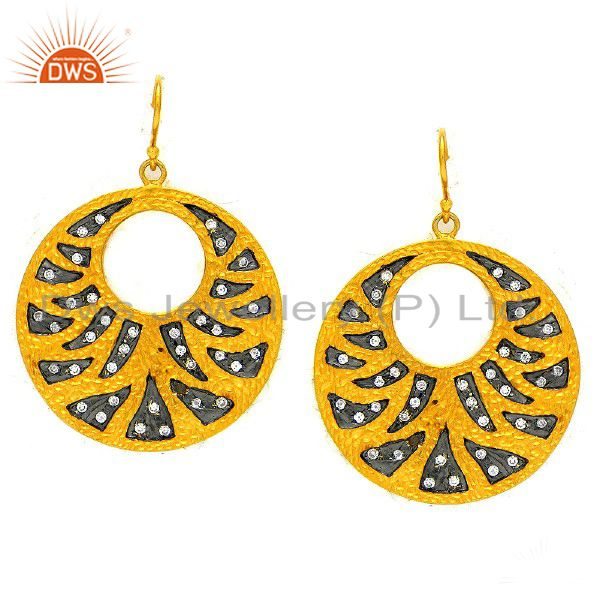 22K Yellow Gold Plated Sterling Silver CZ Hammered Disc Dangle Earrings