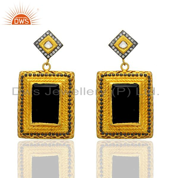 24K Yellow Gold Plated Black Onyx And Crystal Quartz Designer Dangle Earrings