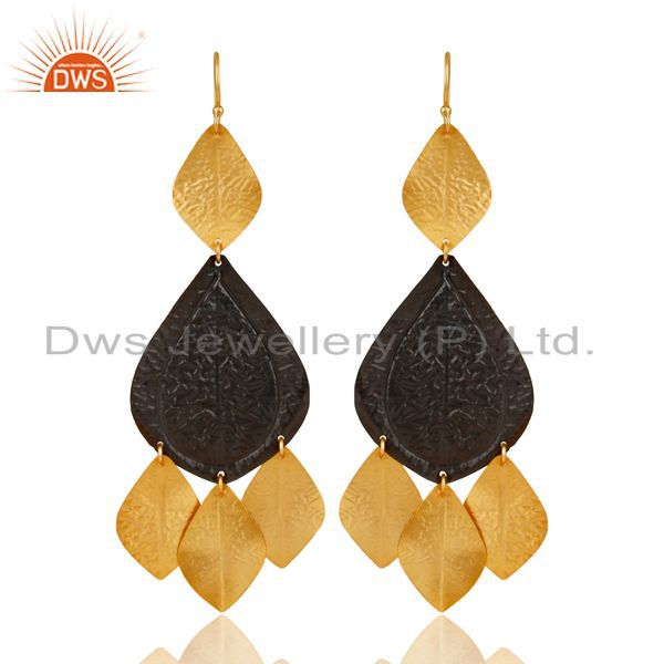 Oxidized And 22K Yellow Gold Plated Brass Fashion Chandelier Earrings