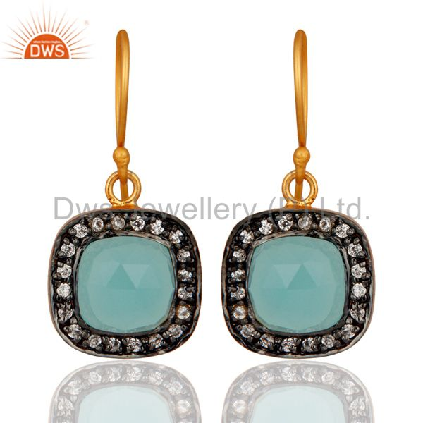 Blue Aqua Chalcedony And White Zircon 18K Yellow Gold Plated Fashion Earrings
