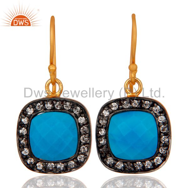 Turquoise And White Zircon 18K Yellow Gold Plated Brass Fashion Earrings
