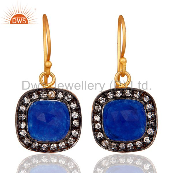 Blue Aventurine And White Zircon 14K Gold Plated Fashion Earrings Jewelry