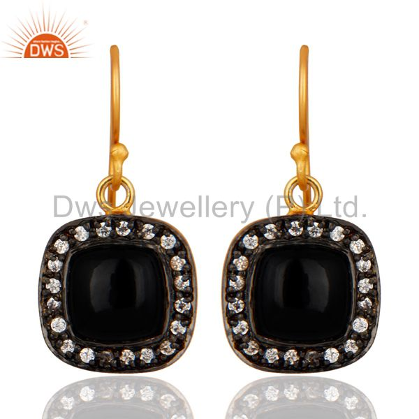 Black Onyx And Cubic Zirconia 18K Yellow Gold Plated Womens Fashion Earrings