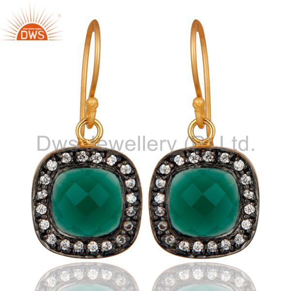 Faceted Green Onyx And CZ 18K Yellow Gold Plated Drop Earrings