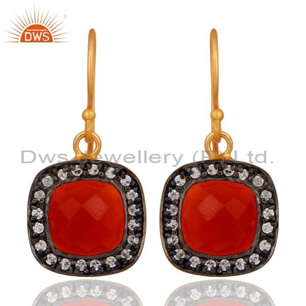 Red Onyx And Cubic Zirconia 18K Yellow Gold Plated Womens Fashion Earrings