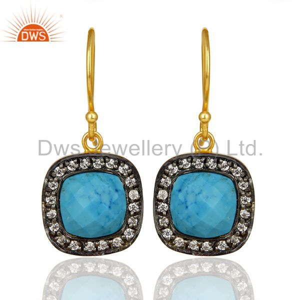 Turquoise White Cz Studded Square Shape Gold Plated 92.5 Sterling Silver earring