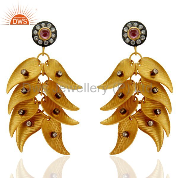 22K Yellow Gold Plated Brass Pink Tourmaline And CZ Fashion Chandelier Earrings