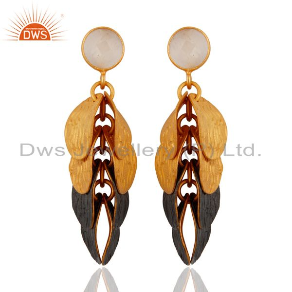 22K Yellow Gold Plated White Moonstone Fashion Womens Dangle Earrings