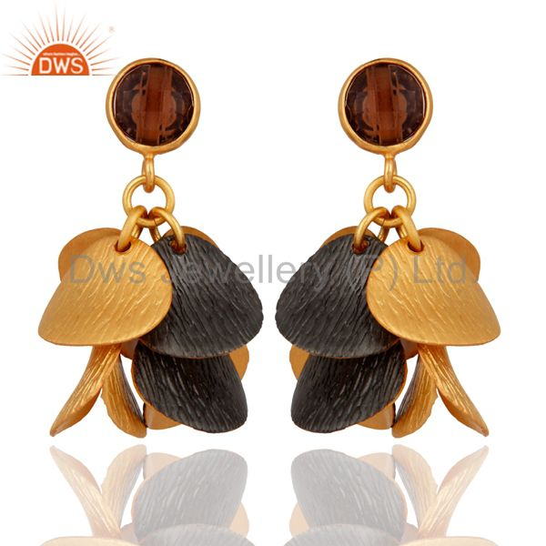 18K Yellow Gold Plated Smoky Quartz Gemstone Designer Earrings
