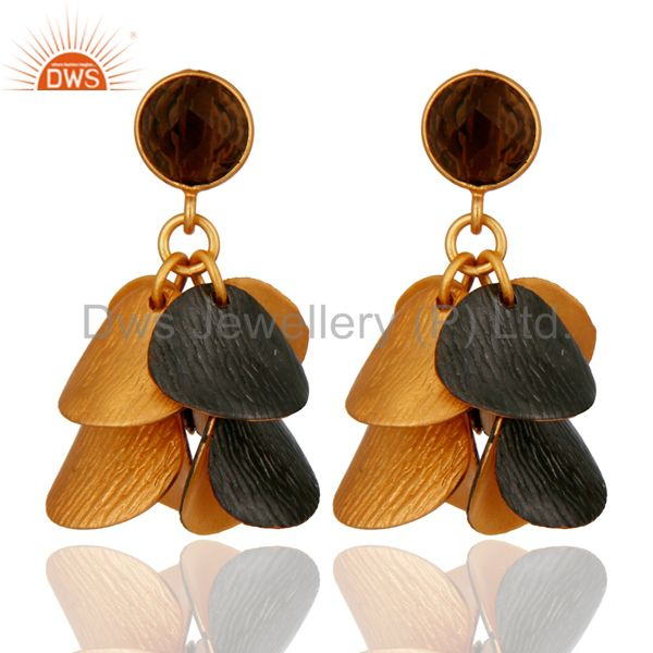 18K Yellow Plated Brass Smoky Quartz Gemstone Designer Chandelier Earrings