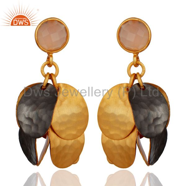 Dyed Rose Chalcedony Gemstone Hammered Gold Plated Chandelier Earrings