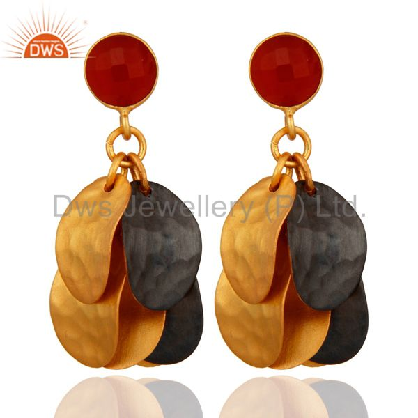 Faceted Red Onyx Gemstone Textured Gold Plated Chandelier Earrings