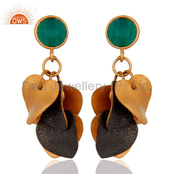 Natural Green Onyx 18K Gold Plated Belly Dance Chandelier Earrings Jewelry