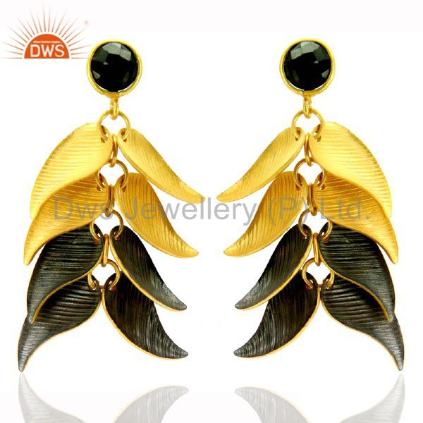 22K Matte Yellow Gold Plated Brass Black Onyx Designer Chandelier Earrings