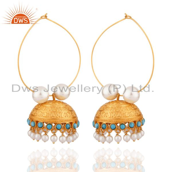 22K Yellow Gold Plated Brass Turquoise & Pearl Designer Jhumka Fashion Earrings