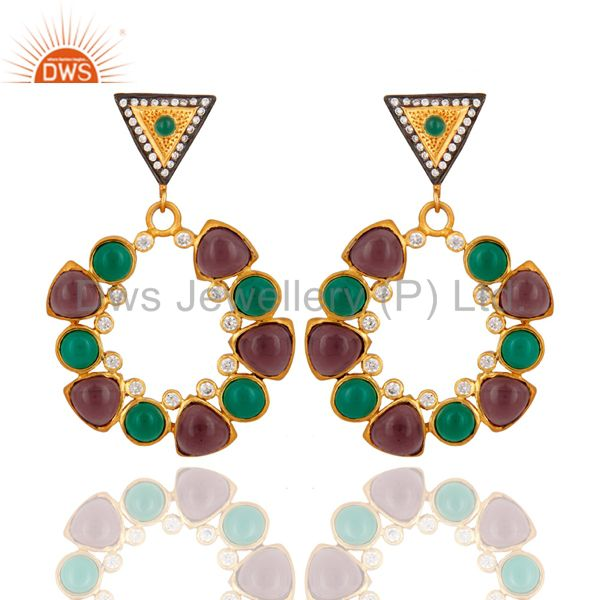 Handmade Green Onyx & Hydro Amethyst 18K Gold Plated Designer Earrings