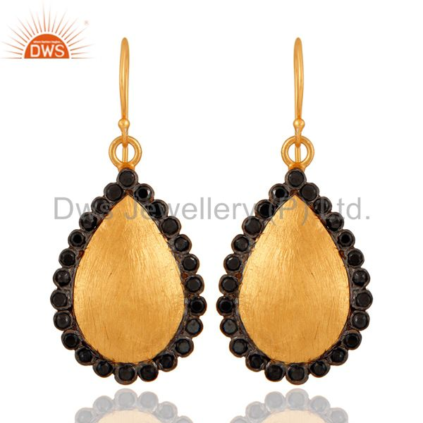 Handmade 18K Yellow Gold Plated Black Cubic Zirconia Designer Drop Earrings