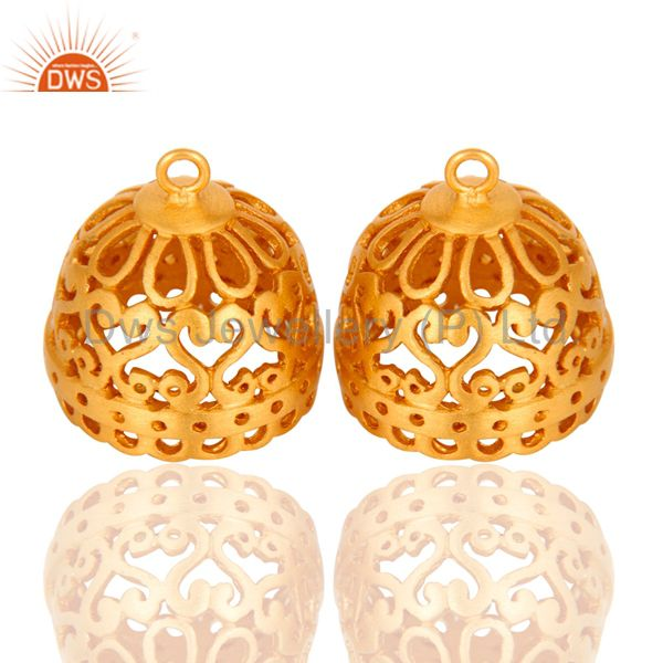 22K Yellow Gold Plated Brass Jhumka Finding Earrings Jewelry