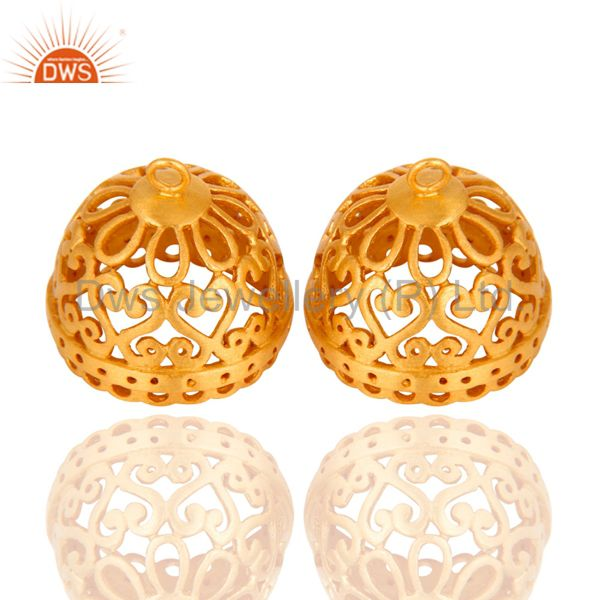 24K Yellow Gold Plated Brass Jhumka Finding Earrings Jewelry