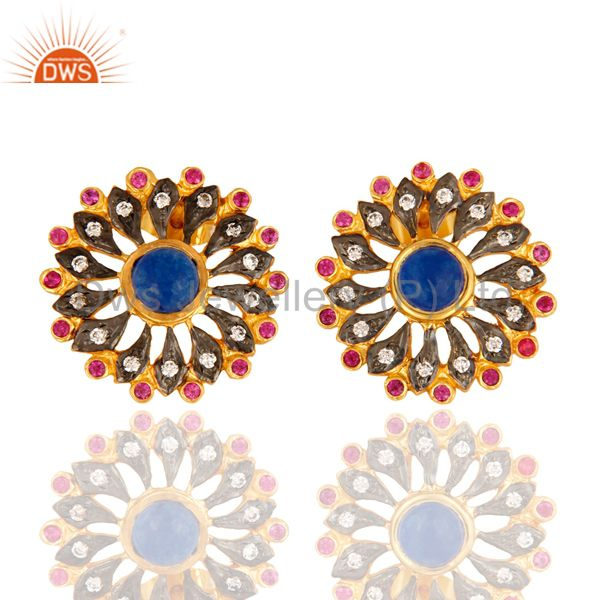 Blue Aventurine Gemstone Pave CZ Designer Stud Earrings With Yellow Gold Plated